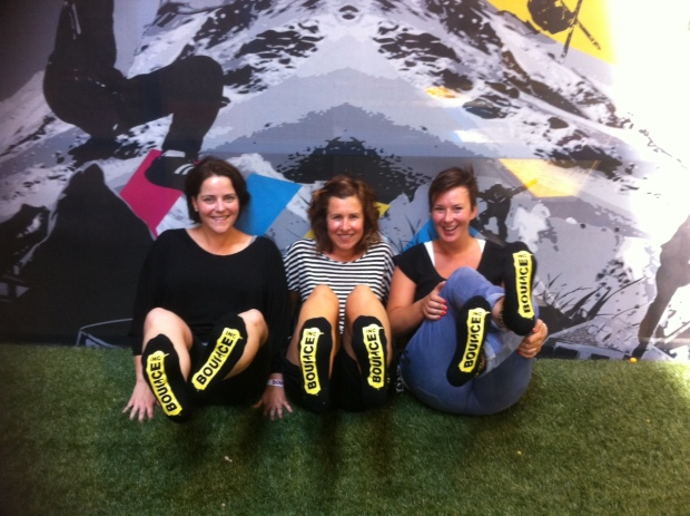 Alex, Amy & Lucy with our very cool Bounce high-grip socks. Awesome for the floor boards at home.