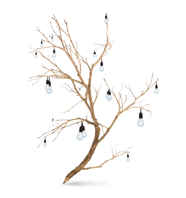 Pencil tree shaped on white background with light bulb