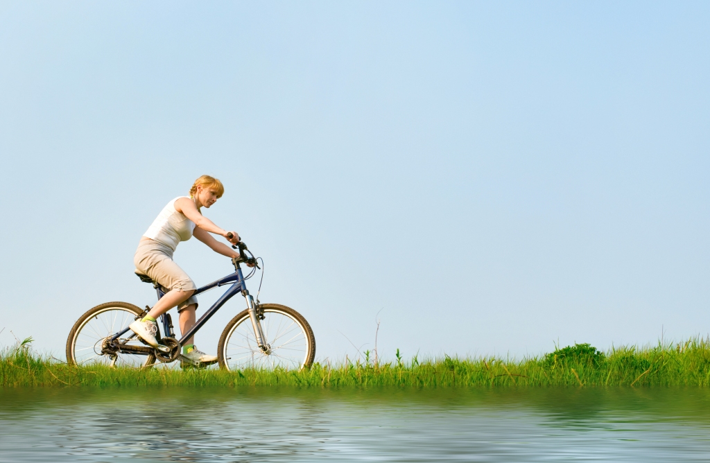 girl relax biking