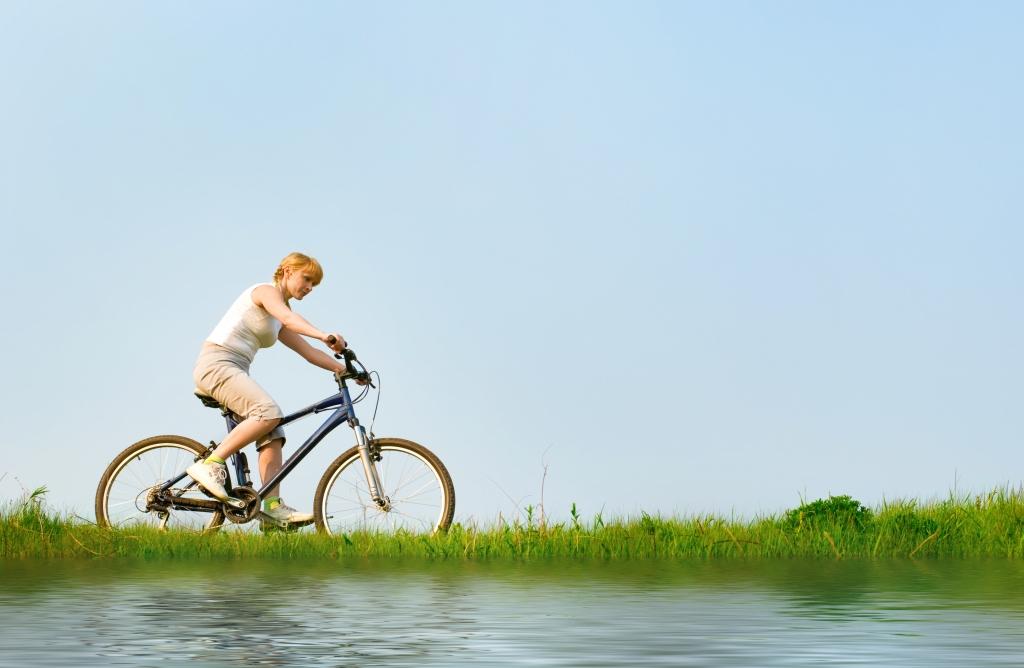 girl relax biking